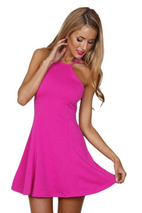 Dress: pink dress, swing dress, halter top, bright pink, halter ...