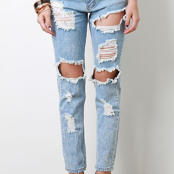 Distressed Hole Cutout Jeans on Wanelo