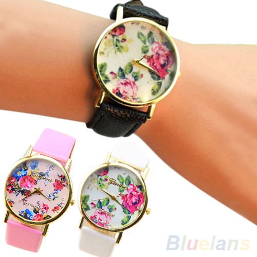 Trendy Casual Faux Leather Geneva Rose Floral Watch Dress Quartz Watches BABA
