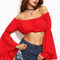 Red bell sleeve crop off the shoulder top -shein(sheinside)
