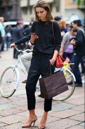 pants,black sweater,red handbag,black trousers,nude heels,blogger