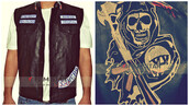 jacket,sons of anarchy,leather jacket,leather vest
