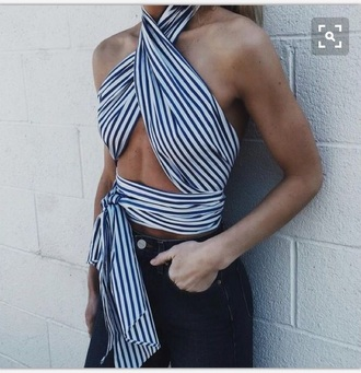shirt shoulders blue and white strips halter top cute sexy top