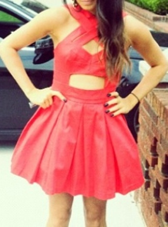 dress red dress cut-out prom dress prom fit and flare