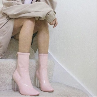 shoes pastel pink boots