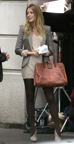 grey blazer blazer jacket shoes blake lively serena van der woodsen sequins sequin blazer blouse dress