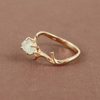 ring pll ice ball gemstone ring raw stone jewels beautiful stone tree-like gold wow knuckle ring hipster gold ring tumblr crystal diamonds twig gemstone tree jewelry diamond ring engagement ring cute gem boho indie crystal ring forest ring elf ring elegant