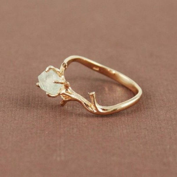 ring PLL Ice Ball gemstone ring raw stone jewels beautiful stone tree-like gold wow knuckle ring hipster gold ring ring tumblr gold ring crystal diamonds twig gemstone tree jewelry diamond ring diamonds engagement ring cute gem crystal boho indie crystal ring forest ring elf ring elegant