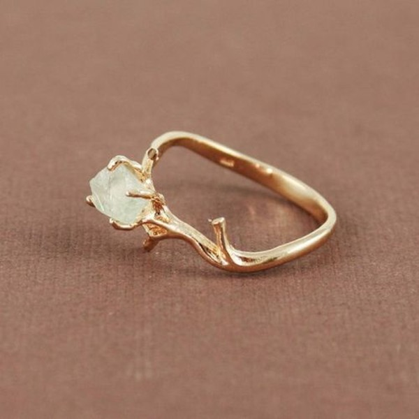 ring PLL Ice Ball gemstone ring raw stone jewels beautiful stone tree-like gold wow ring knuckle ring hipster gold ring gem jewelry tumblr diamond ring diamonds gold ring cute crystal diamonds twig crystal engagement ring gemstone tree jewels jewelry ring boho indie crystal ring forest ring elf ring elegant