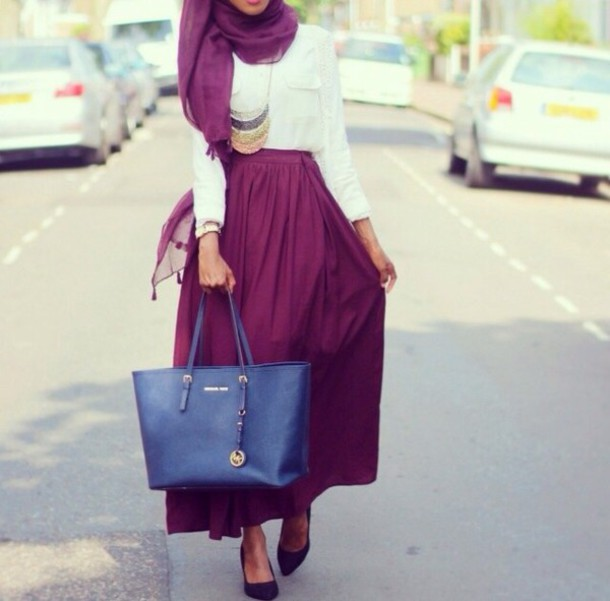 skirt burgundy necklace blouse hijab maxi skirt plum skirt bag