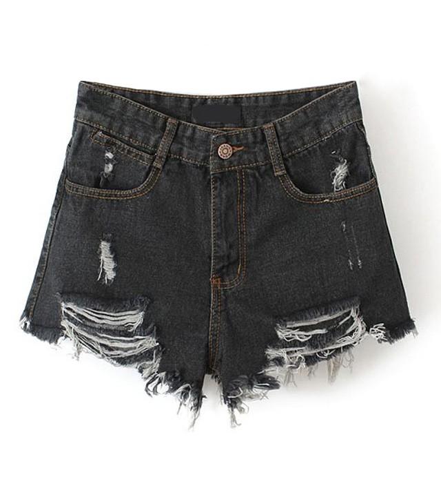 High waist frayed denim shorts