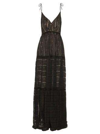 gown lace floral black dress