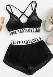 romper,girly,black,velvet,two-piece,bralette,shorts,matching set,white,triangle top