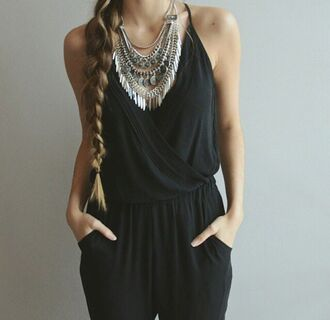 jumpsuit black black jumpsuit girly jewels necklace silver jewelry silver silver necklace ethnic fashion statement necklace