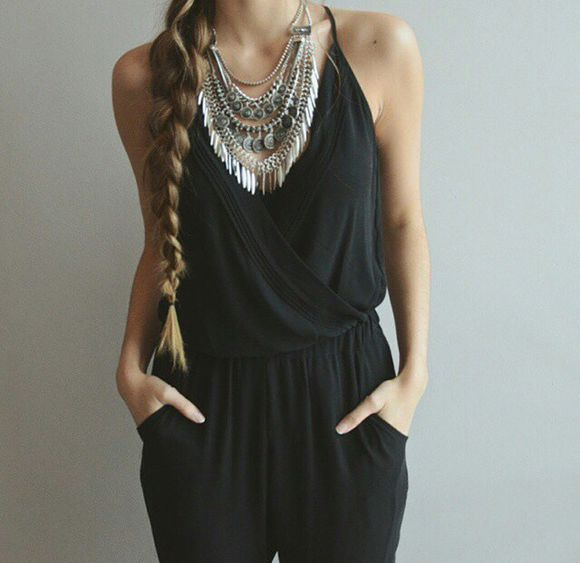 silver jewels necklace black silver jewelry jumpsuit black jumpsuit girly silver necklaces ethnic fashion