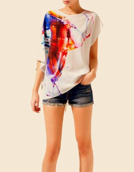shirt blouse feather girl color top tops blouses colors colours colour colored coloured bird animal rainbow graffiti art cute adorable sweet nice