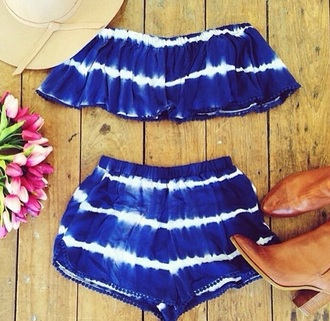 top blue dress blue shorts blue top summer top summer shorts style cute shorts shirt two-piece summer outfits 2 piece outfit