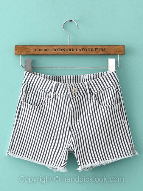 Black and White Striped Button Fly Shorts - HandpickLook.com