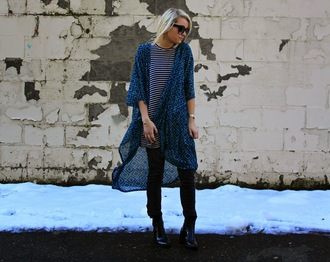 platinum and penniless blogger print blue kimono