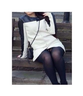 coat beige white black leather black leather white coat beige coat