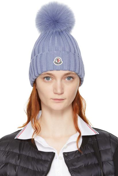 moncler beanie pom pom beanie blue hat