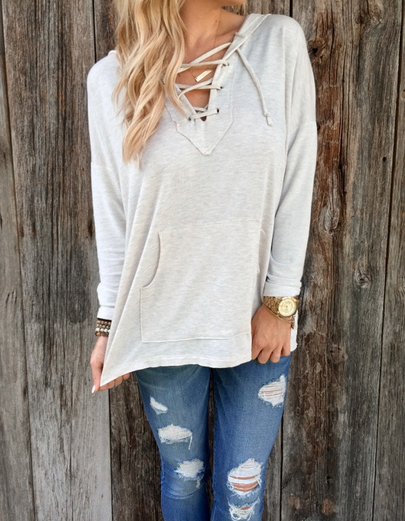 Lace Up Front Hoodie Sweater – Outfit Made 286a5758e