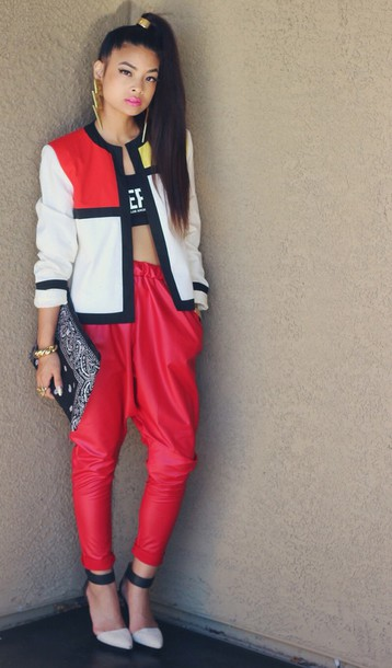 Pants red leather joggers - Wheretoget