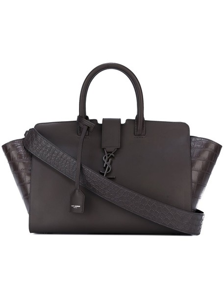 Saint Laurent - small 'Monogram Downtown Cabas' tote - women - Leather - One Size, Brown, Leather