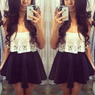 top lace cute crop tops crochet off white skater skirt black tumblr skirt