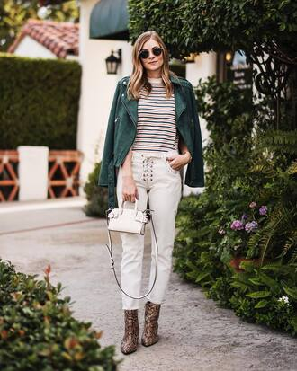 pants tumblr white pants lace up boots animal print bag mini bag handbag jacket green jacket top stripes striped top sunglasses