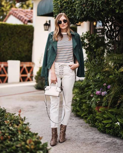 pants tumblr white pants lace up boots animal print bag mini bag handbag jacket green jacket top stripes striped top sunglasses