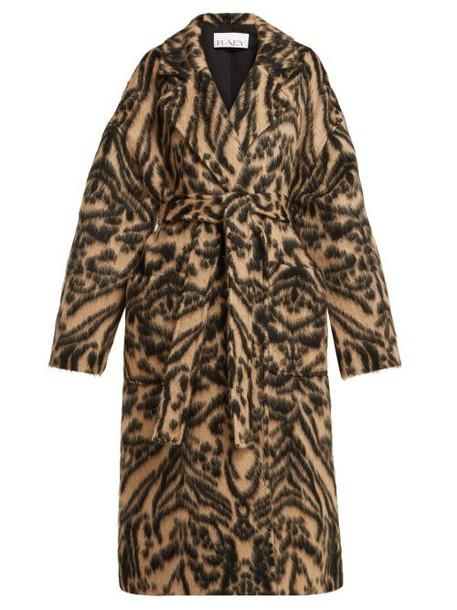 Raey - Dropped Shoulder Tiger Print Blanket Coat - Womens - Brown Multi