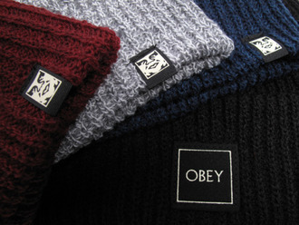 hat obey red grey black beanie navy accessory