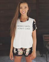shirt,sophia lucia,shorts,top,messy hair dont care,bae,cute