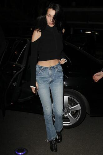 top crop tops jeans bella hadid streetstyle milan fashion week 2017 fashion week 2017