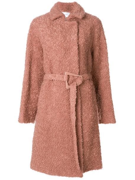 coat women mohair wool purple pink