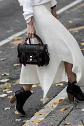 skirt,maxi knitted skirt,tumblr,maxi skirt,knitted skirt,white skirt,bag,black bag,proenza schouler,boots,ankle boots,high heels boots,black boots,satchel bag,mini bag,handbag,leather bag,black leather bag,designer bag,slit skirt,knitwear,fall dress