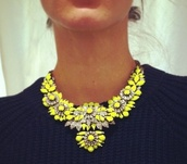 jewels,statement,statement necklace,necklace,yellow,silver,jewelry