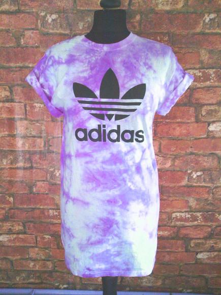 tie dye purple top t-shirt adidas refoil scrunch handmade