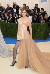 dress,gown,nude,nude dress,gigi hadid,model,tights,pumps,asymmetrical,met gala,met gala 2017,shoes
