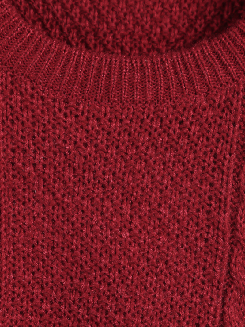 Red Round Neck Long Sleeve Cable Knit Sweater - Sheinside.com