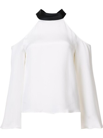 blouse women cold white silk top