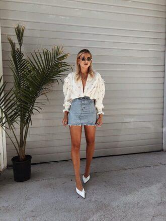 top shirt skirt denim denim skirt shoes white shoes sunglasses