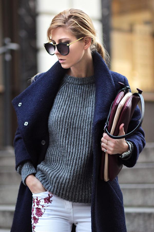 sirma markova coat sweater jeans bag sunglasses jewels shoes