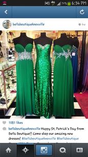dress,sparkly emerald green dress,formal.