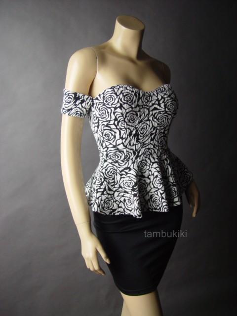 Black White Rose Brocade Peplum Off The Shoulder Pinup Evening Party 26 MV Dress | eBay