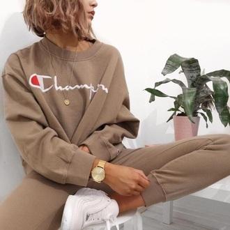 sweater champion champion hoodie beige all beige everything