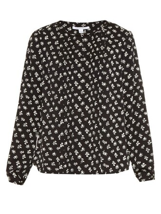 blouse white black top