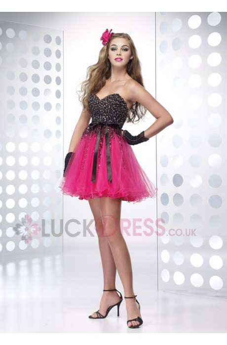 Sleeveless Dropped Short/Mini Beading Zipper Short Cocktail Dresses - Luckdress.co.uk