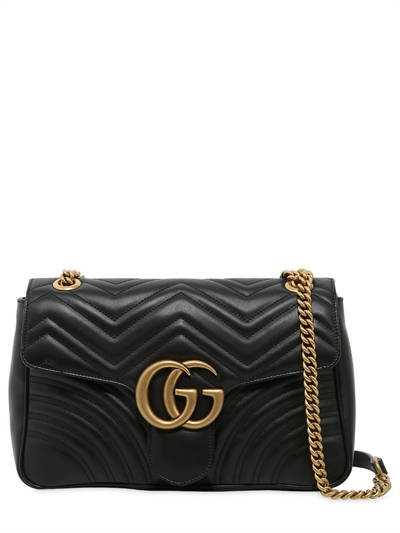 GUCCI, Medium gg marmont 2.0 leather bag, Black, Luisaviaroma